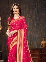 Hot Pink Art Silk Festival Silk Saree