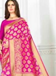 Hot Pink Art Silk Traditional Designer Saree