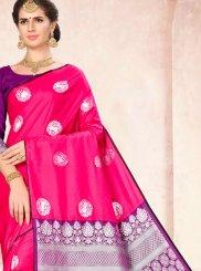 Hot Pink Art Silk Traditional Saree