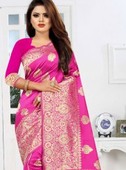 Hot Pink Art Silk Traditional Saree