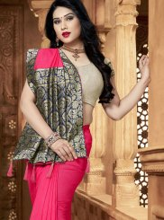 Hot Pink Art Silk Trendy Saree
