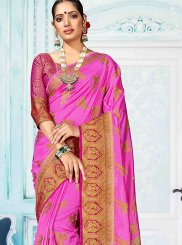 Hot Pink Art Silk Weaving Designer Traditional Saree