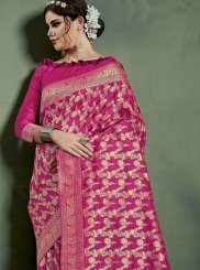 Hot Pink Art Silk Weaving Traditional Designer Saree