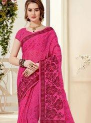 Hot Pink Casual Cotton Casual Saree