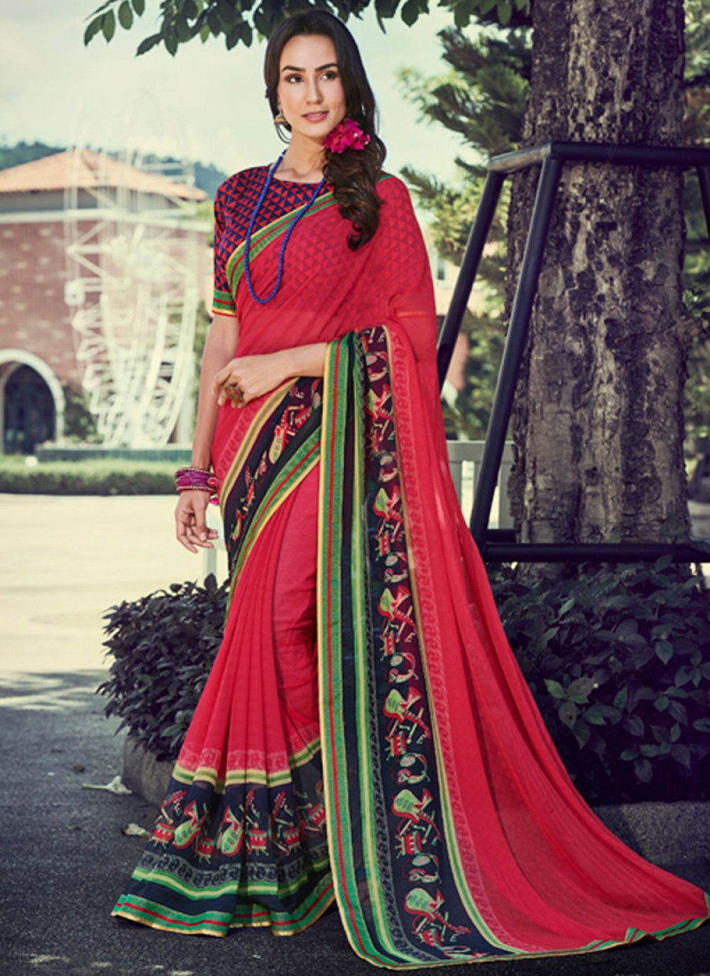 Hot Pink Casual Faux Georgette Classic Saree