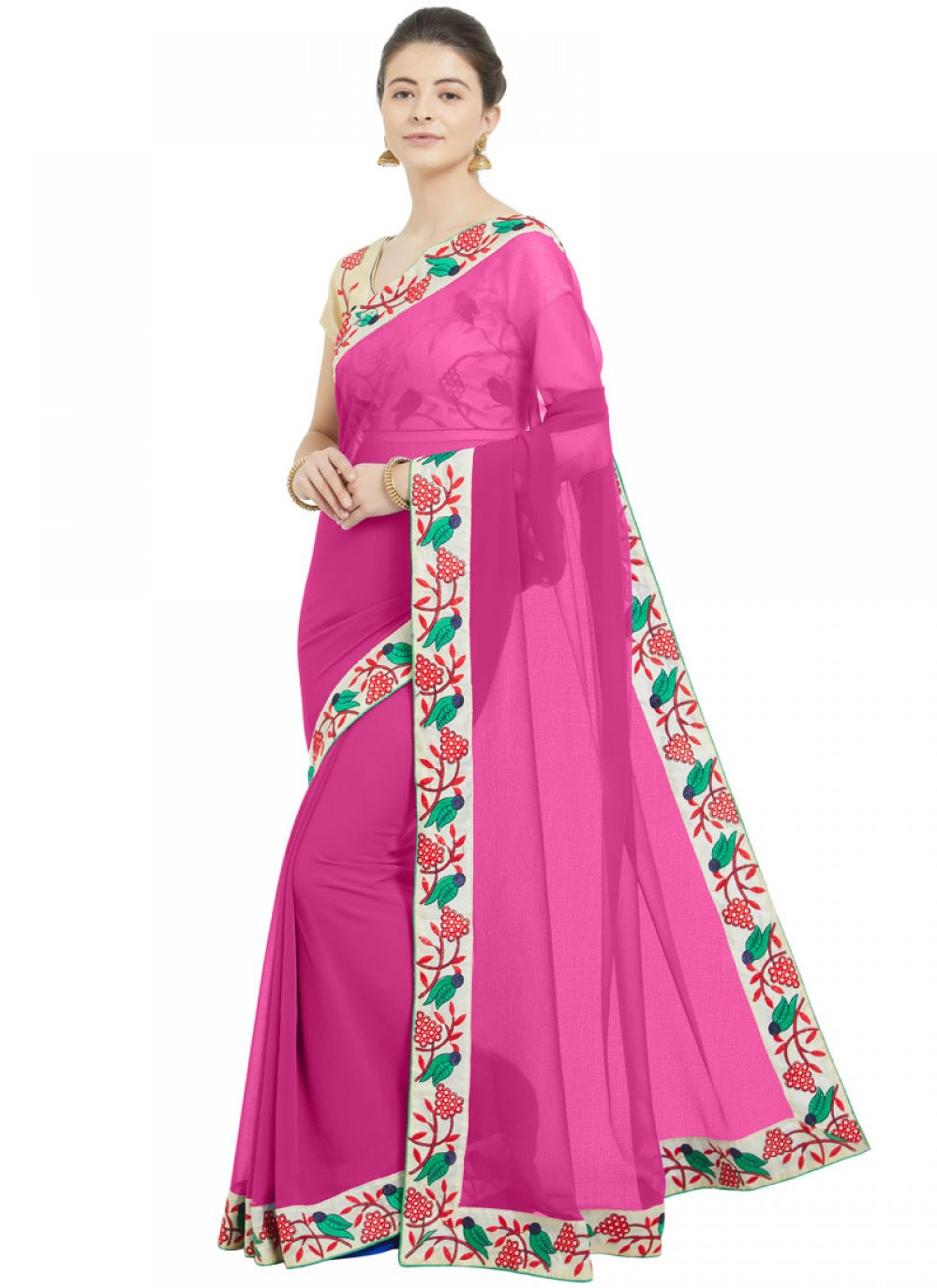 Hot Pink Casual Printed Saree