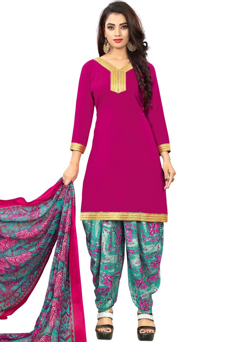 Hot Pink Casual Punjabi Suit
