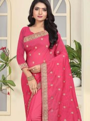 Hot Pink Ceremonial Art Silk Designer Traditional Saree