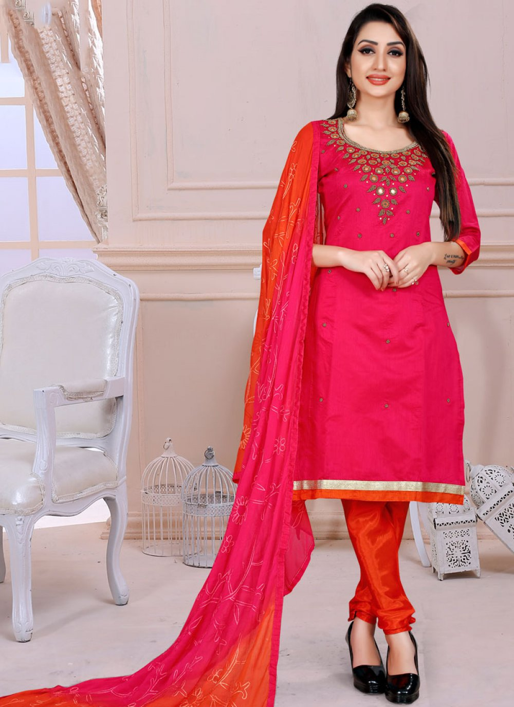 Hot Pink Ceremonial Churidar Designer Suit