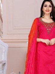 Hot Pink Ceremonial Churidar Designer Suit