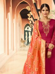 Hot Pink Ceremonial Georgette Satin Designer Straight Salwar Suit