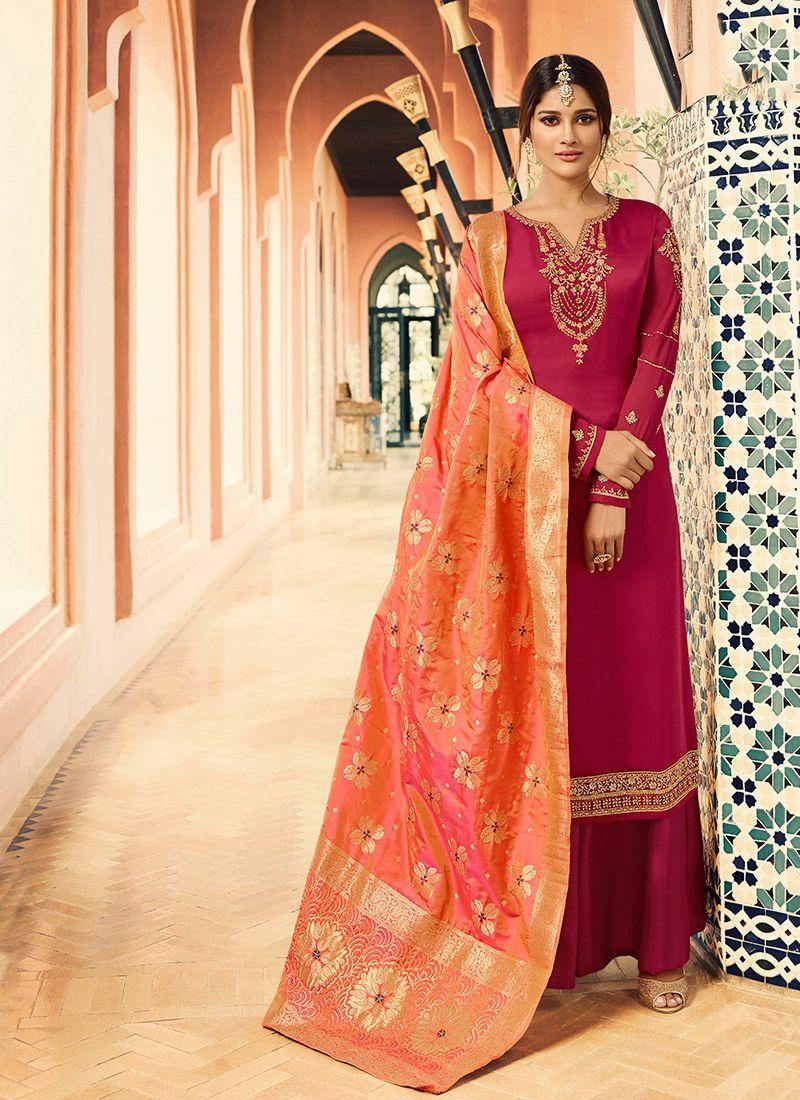 Hot Pink Ceremonial Georgette Satin Designer Straight Salwar Suit