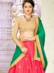 Hot Pink Ceremonial Satin Silk Designer Lehenga Choli