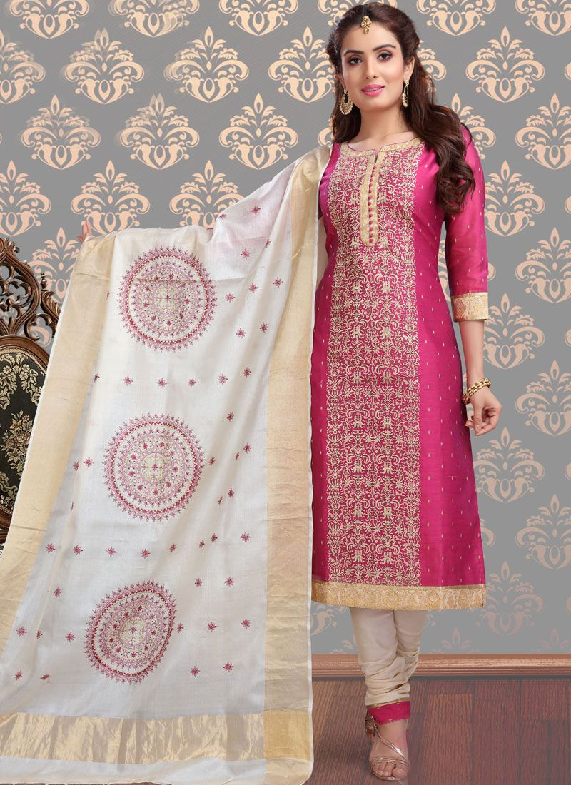 Hot Pink Churidar Designer Suit