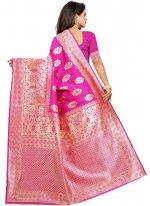 Hot Pink Color Casual Saree