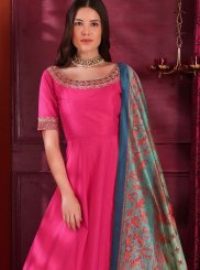 Hot Pink Color Designer Gown