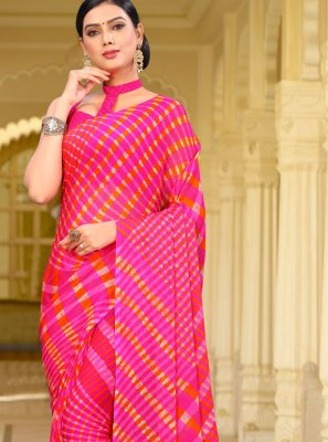 Hot Pink Color Printed Saree
