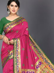 Hot Pink Color Traditional Designer Saree