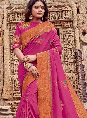 Hot Pink Color Trendy Saree