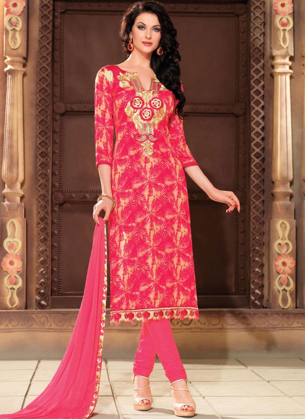 Hot Pink Cotton Churidar Salwar Kameez