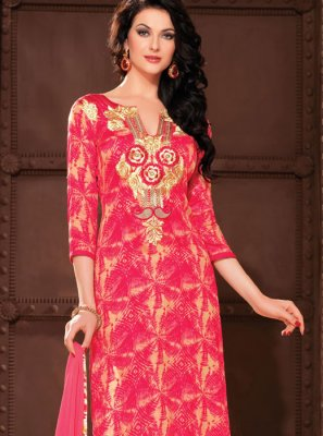 Hot Pink Cotton Churidar Salwar Kameez