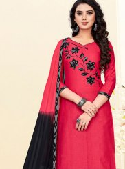 Hot Pink Cotton Print Churidar Suit