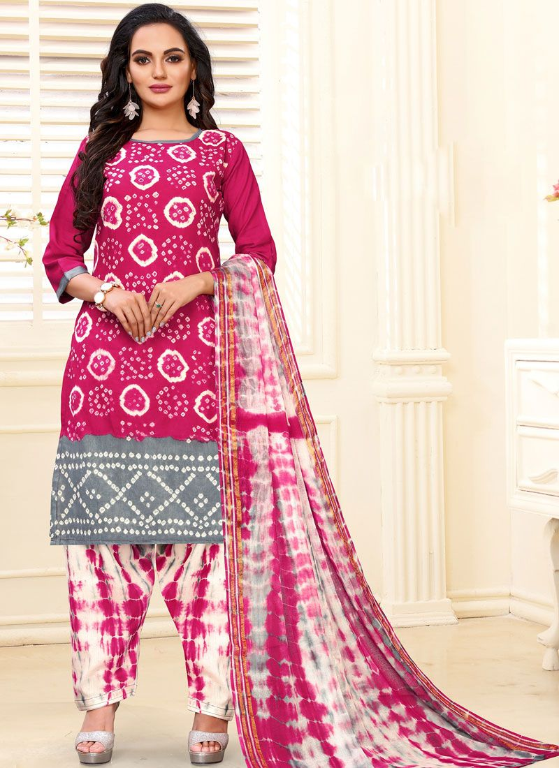Hot Pink Cotton Readymade Suit