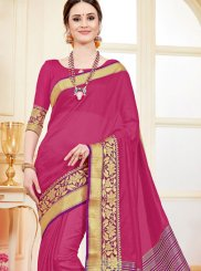 Hot Pink Cotton Silk Casual Saree