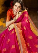 Hot Pink Cotton Silk Festival Designer Traditional Saree
