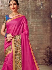 Hot Pink Cotton Silk Woven Traditional Saree