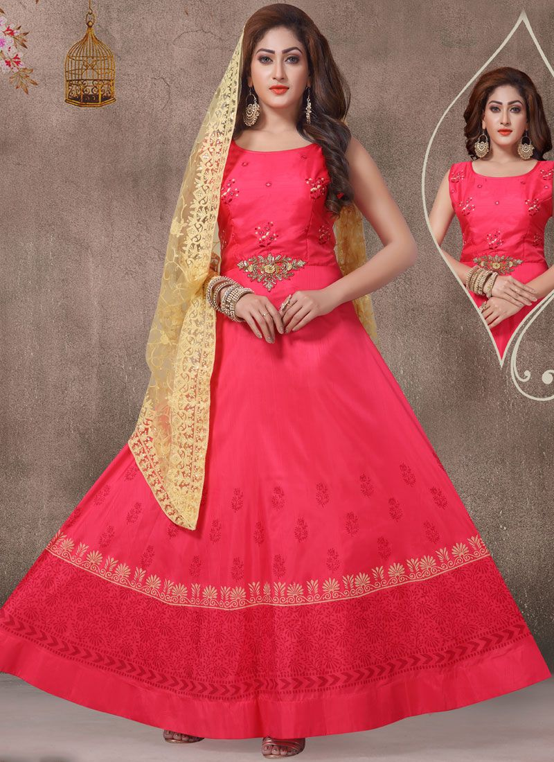 Hot Pink Embroidered Ceremonial Readymade Suit