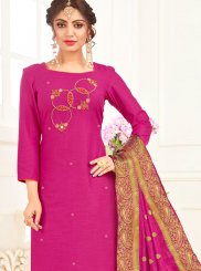 Hot Pink Embroidered Cotton Churidar Suit
