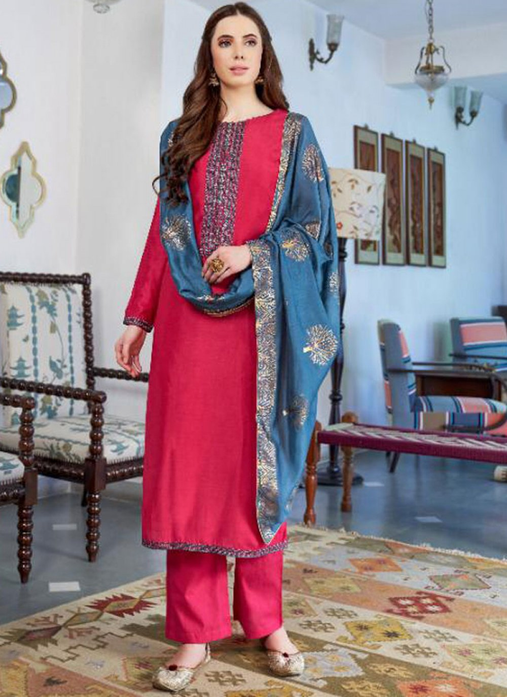 Hot Pink Embroidered Cotton Silk Designer Pakistani Suit
