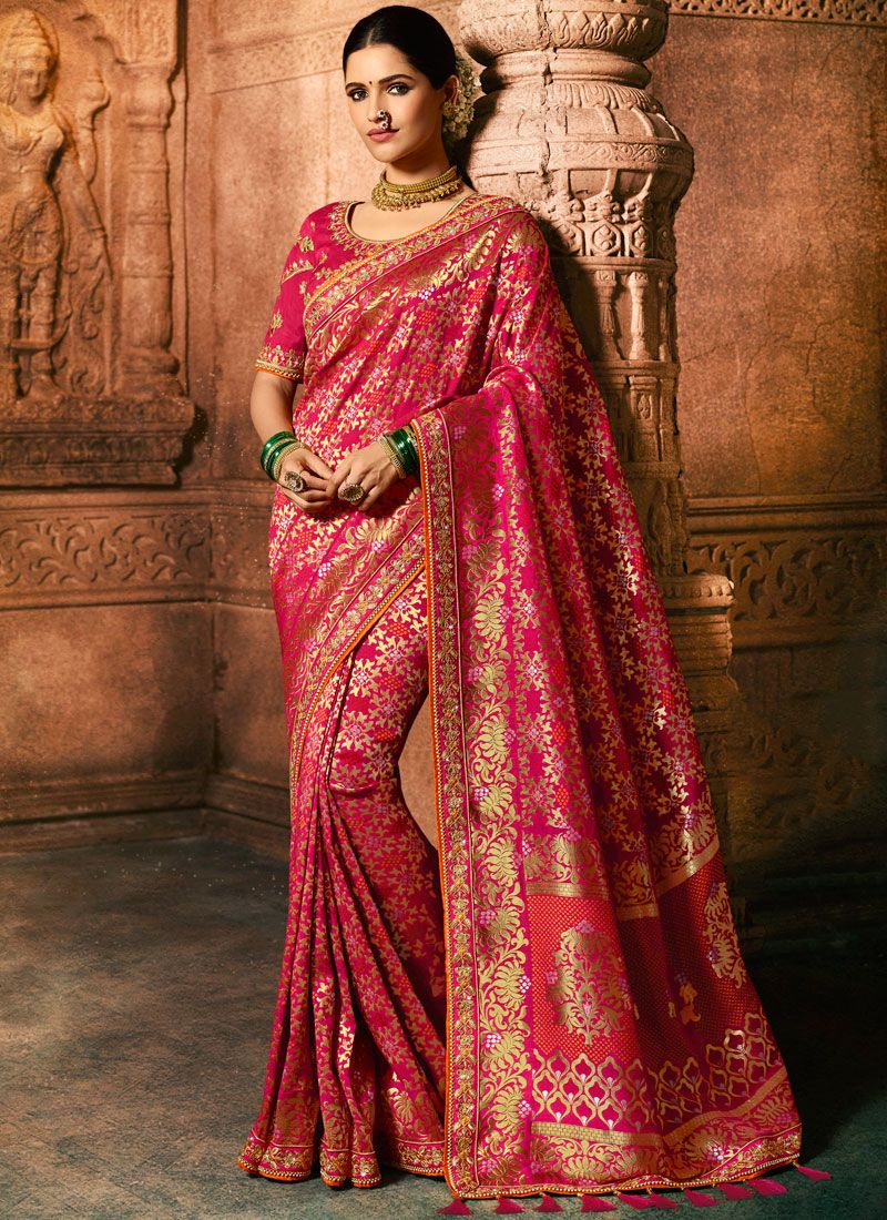 Hot Pink Embroidered Fancy Fabric Classic Designer Saree