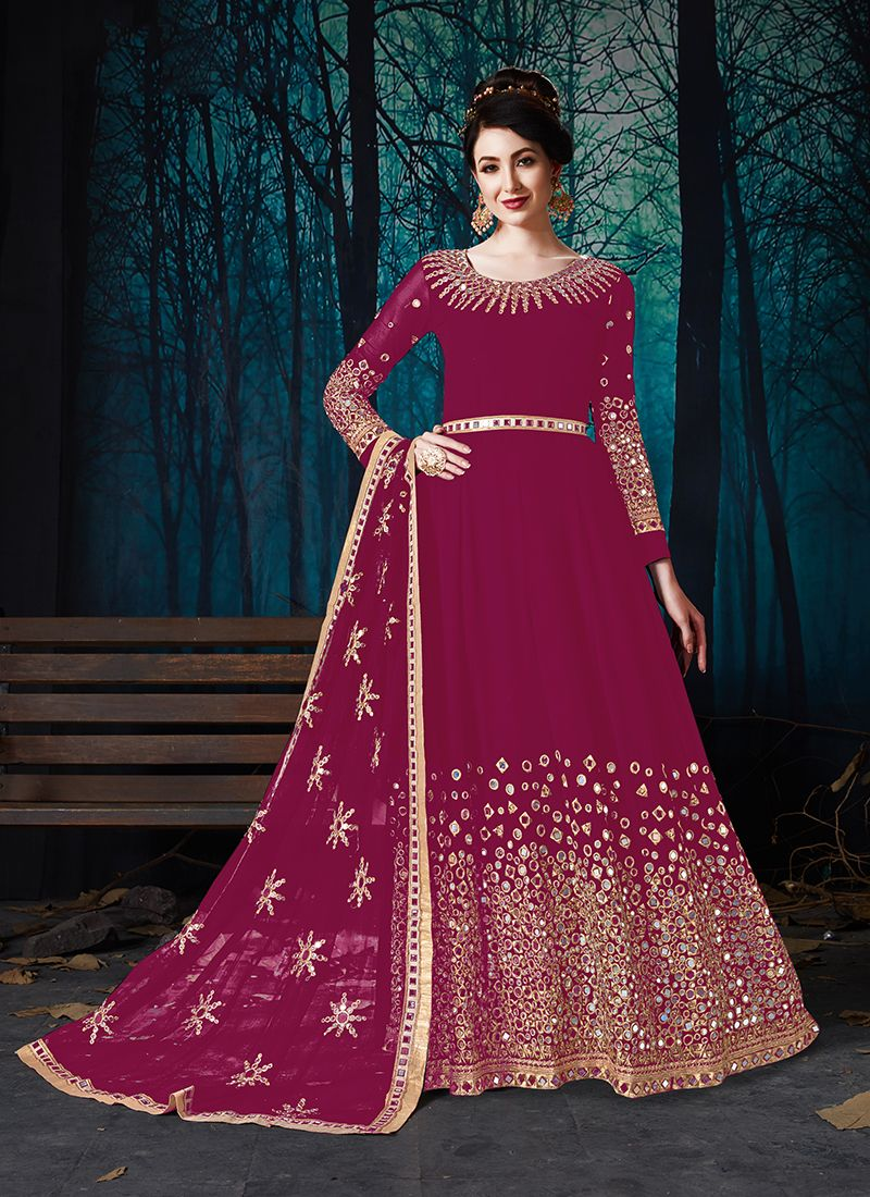 Hot Pink Embroidered Faux Georgette Anarkali Suit