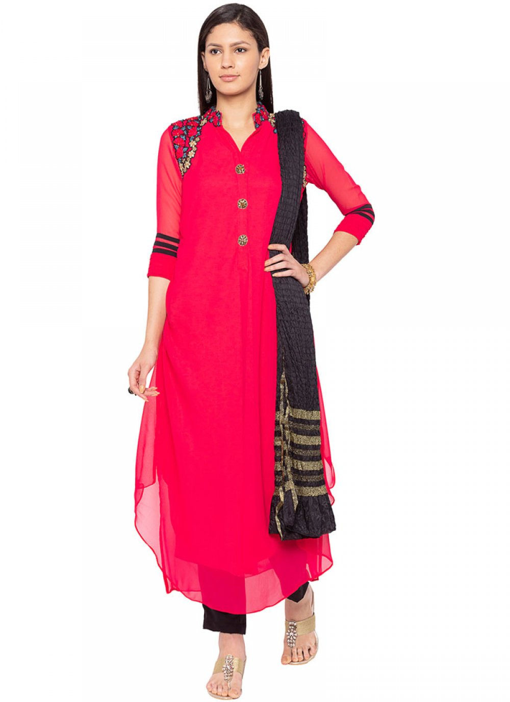 Hot Pink Embroidered Faux Georgette Readymade Suit