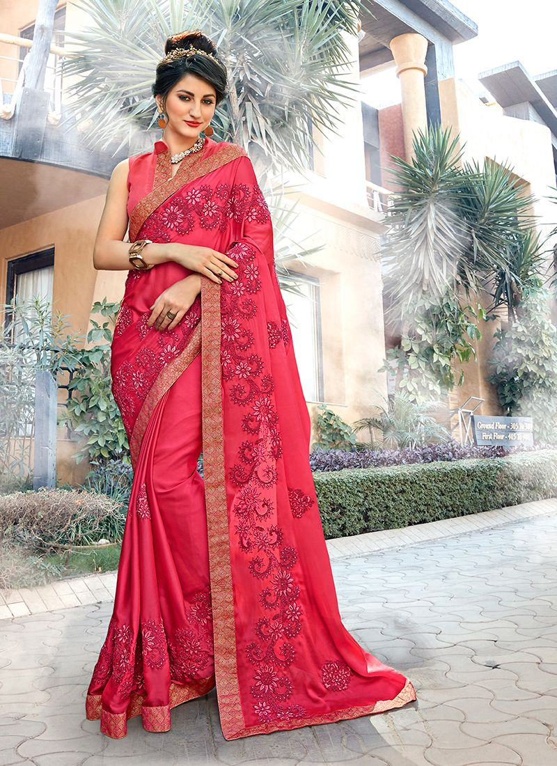 Hot Pink Embroidered Georgette Trendy Saree