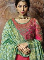 Hot Pink Embroidered Jacquard Silk Trendy Lehenga Choli
