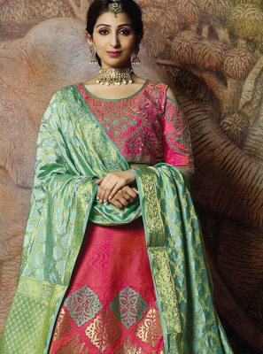 Hot Pink Embroidered Jacquard Silk Trendy Lehenga Choli