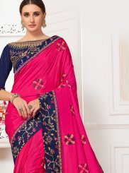 Hot Pink Embroidered Reception Silk Saree