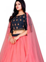 Hot Pink Embroidered Trendy A Line Lehenga Choli
