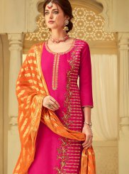 Hot Pink Embroidered Viscose Designer Salwar Kameez