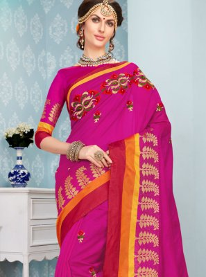 Hot Pink Embroidered Work Traditional  Saree
