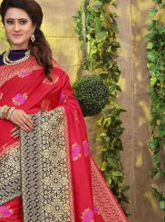 Hot Pink Fancy Fabric Weaving Traditional Saree