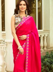 Hot Pink Faux Georgette Classic Designer Saree