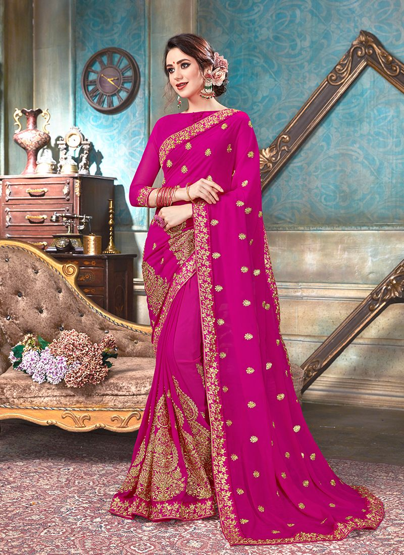 Hot Pink Faux Georgette Classic Saree