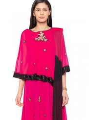 Hot Pink Faux Georgette Festival Readymade Suit