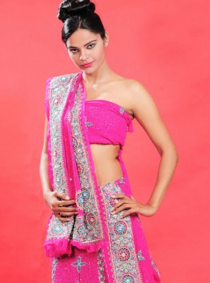Hot Pink Faux Georgette Lehenga Choli