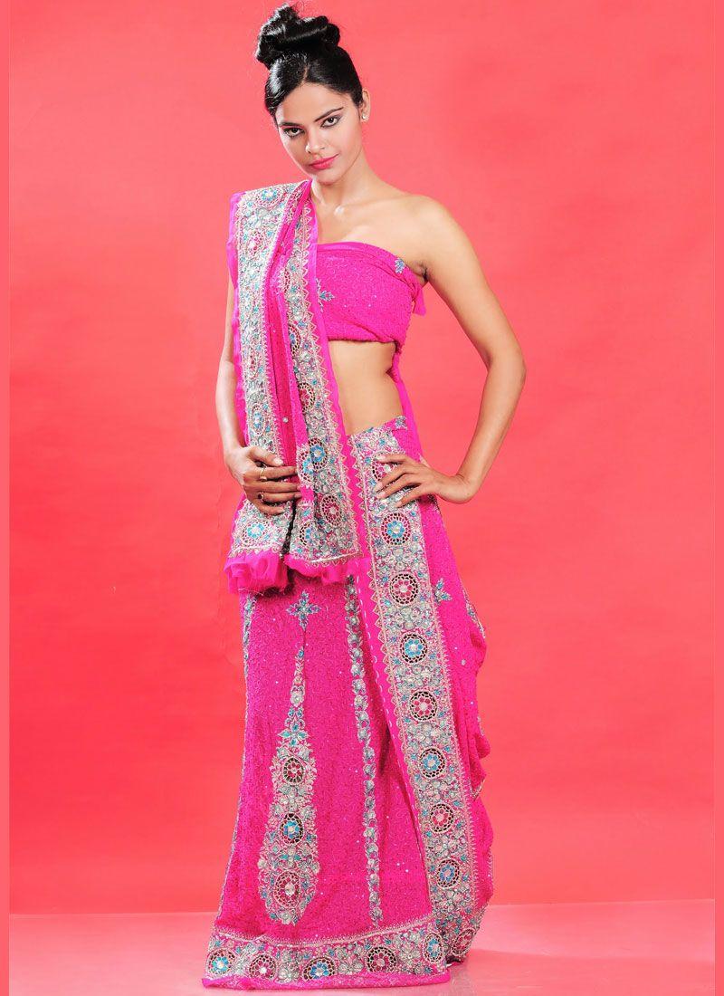 Hot Pink Faux Georgette Lehenga Choli