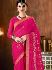 Hot Pink Faux Georgette Patch Border Saree
